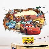 ufengke® 3D Mur Endommagé Dessin Animé Voitures Avions Stickers Muraux, Chambre des Enfants Pépinière Autocollants Amovibles