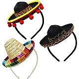 AMZBY 3 Cinco de Mayo Fiesta Sombreros Cintas para el Cabello, Telas y Sombreros de Paja Cintas para la Cabeza, Decoración Me