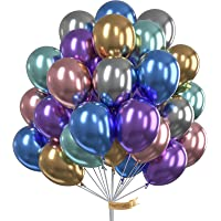 PartyWoo Metallic Luftballon, 50 Stück Luftballons Bunt Satz von Metallic Luftballons in 6 Metallicfarben, Helium…