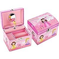TAOPU Portagioie Musicale con Manico in Perla e Carillon Rotante Princess per Bambine