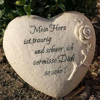 Trauerherz Grab Spruch - Mein Herz ist traurig und schwer