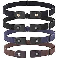 4 Pieces Buckle Free Adjustable Women/Men Belt, JASGOOD No Buckle Invisible Elastic Belt for Jeans Pants