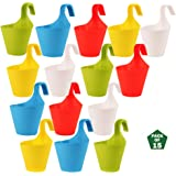 Leafy Tales Plastic Hook Hanging Pot, Multicolor 29 x 12 x 22 cm, 15 Pieces