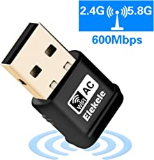 Elekele WLAN Adapter PC WiFi Adapter Elegantes Design Wireless USB 600Mbit/s Dualband(2.4G/150Mbps+5G/433Mbps) Mini Wireless Empfänger für Windows 10/8.1/8/7/XP/Vista/MAC OS/Linux 2.6