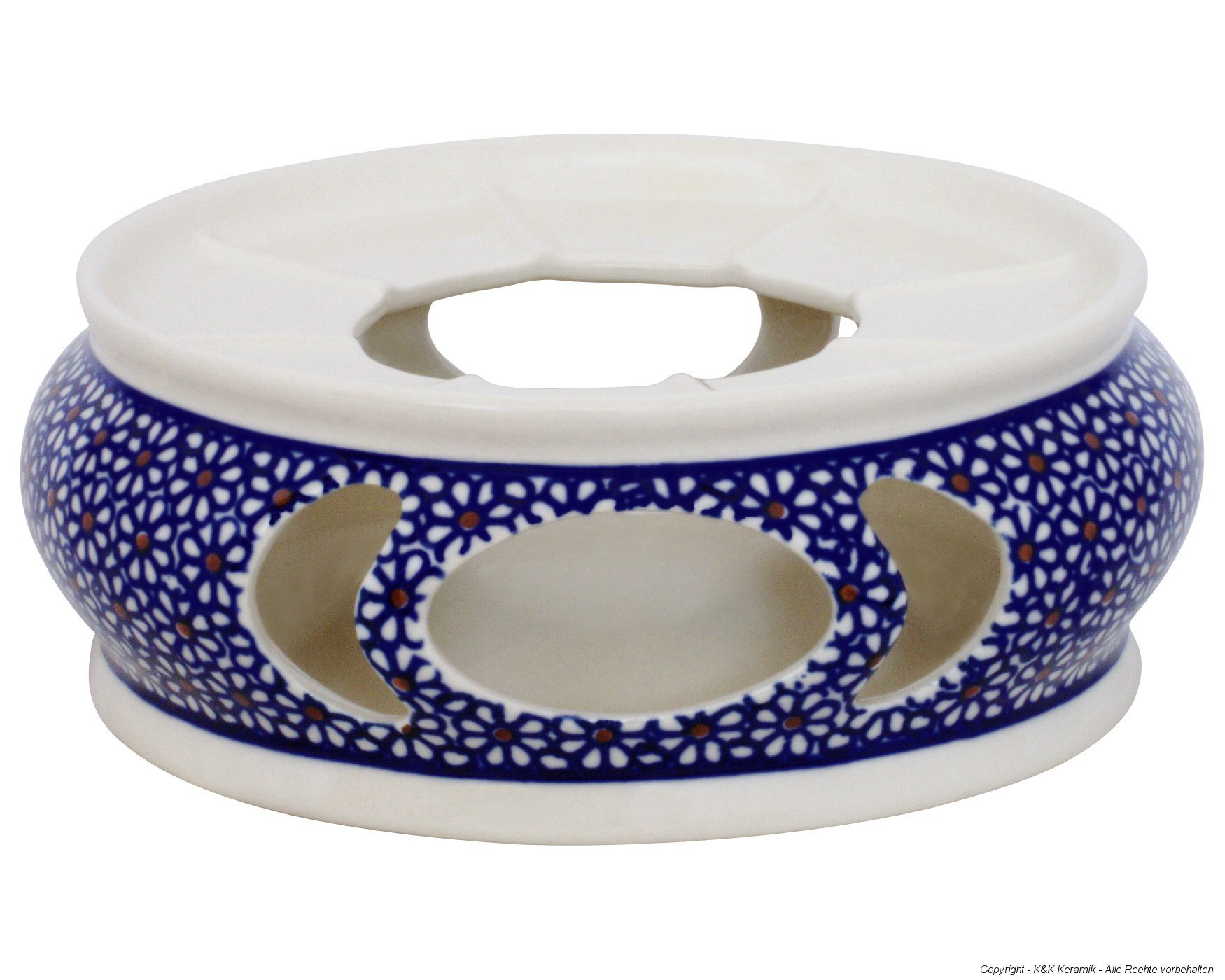 Boleslawiec Pottery Warmer, Ø18.5cm, Original Bunzlauer Keramik, Decor 120