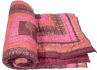 Desert O Pink Cotton Single Bed Sized Jaipuri Razai Quilt Light Weight- Multi Color