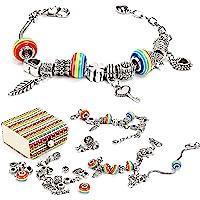 Sun studio Kit Bijoux de Bracelets à Breloques,Coffret Cadeau Bijoux Chaînes Serpents Plaquées Argent et Perles pour…