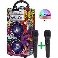 DYNASONIC - (3a Gen) Enceinte Bluetooth Portable avec Mode karaoké et Microphone, Radio FM et Lecteur USB SD (modèle 12…