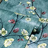 Taogift European Style Peel and Stick Vintage Floral Wallpaper Removable Self Adhesive Vinyl Floral Shelf Liner Contact Paper