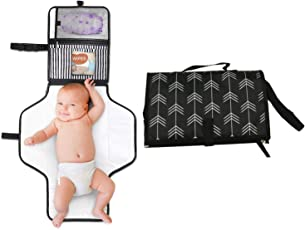 Mommy Cuddle Baby Portable Diaper Changing Pad, Stroller Strap and Carry Handle (Black)