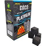 Coco Platinum Coconut Shell Charcoal - 100% Natural Coal Cubes for Shisha, Hookah, Bakhoor, Incense, BBQ - Long-Lasting, Low