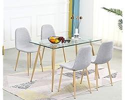 Bacyion Table de Salle à Manger avec 4 Chaises Ensembles de Meubles de Salle à Manger et 4 Gris Chaise en Rectangulaire Table