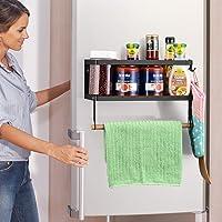Étagère de rangement pour épices pour réfrigérateur - Porte-serviettes en papier pour organisateur de porte-épices pour…