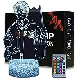 Veilleuse 3D Illusion pour enfants, cadeau d'anniversaire Harry Potter 16 couleurs changeantes, lampe de bureau LED 3D, lumiè