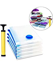 House of Quirk Vacuum Storage Reusable Ziplock Smart Space Saver Bags (Pack of 5) 2 Small (50 cm x 60 cm), 2 Medium (60 cm x 80 cm), 1 Large (70 cm x 100 cm) with Hand Pump for Travel
