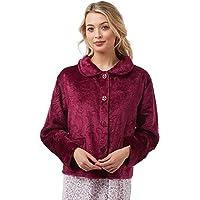 Lady Olga Soft Feel Embossed Fleece Nightwear in 3 Styles Zip Gown, Button Dressing Gown or Bed Jacket
