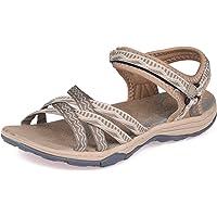 GRITION Women Hiking Sandals, Girls Outdoor Sport Water Shoes Summer Flat Cross-Tied Sandals Open Toe Adjustable Hook…