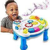 TOEY PLAY Tavolo Musicale Bambini, Tavolo Multiattivita degli Dinosauro Giocattoli, Tavolino Gioco Centro Attivita, Luci e Su