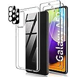 TOCOL Funda Compatible con Samsung Galaxy A52 4G/5G/A52s 5G, 2 Piezas Protector de Pantalla 2 Piezas Lente de cámara Vidrio T