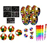 birthday popper rainbow potpourri (25 pcs) as return gift, pinata fillers for kids of all age group- Multi color