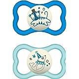 MAM Air Night - Set di 2 ciucci in silicone per bambini, adatti ai denti e luminosi, design extra leggero e arioso con portac