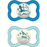 MAM Air Night - Set di 2 ciucci in silicone per bambini, adatti ai denti e luminosi, design extra leggero e arioso con…