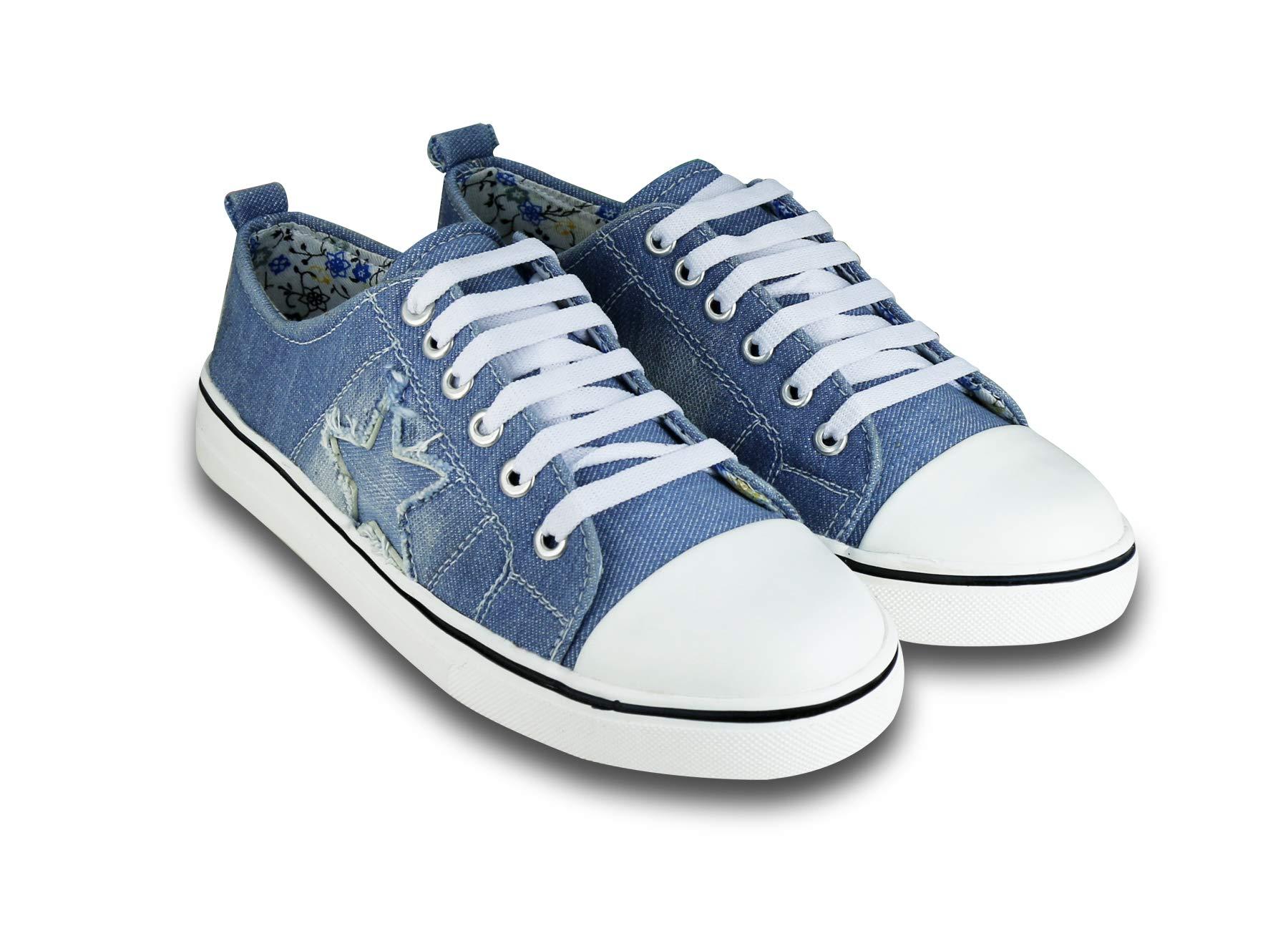 BEONZA Women's Denim Sneakers