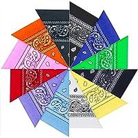 12 Pezzi Bandana per Capelli, 100% Cotone Disegno Paisley - Bandana Multiuso per Collo,Testa,Sciarpa Fazzoletti da…