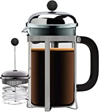 Bison French Press Coffee Espresso Tea Maker 600 ml, 3 Level Superior Filter BPA Free Heat Resistant Borosilicate Glass Carafe Handle Easy To Clean Dishwasher Safe