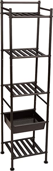AmazonBasics 5-Tier Bathroom Shelving Unit with Basket