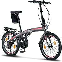 Licorne Bike Phoenix, 20 Zoll Aluminium-Faltrad-Klapprad, Faltfahrrad-Herren-Damen, 7 Gang Kettenschaltung - Folding…