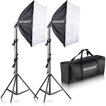"""Neewer 700 W Photographie 24 """"x 24/60 x 60 cm Soft Box avec Enregistrement Kit Culot E27 Lampe de lumière pour Photographie de Portraits, Produit de Studio Photo et Vidéo"""