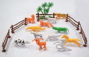 Asian Hobby Crafts Plastic Animals Wild and Domestic for Model Making, School Projects, Collectibles etc (18 Pieces)