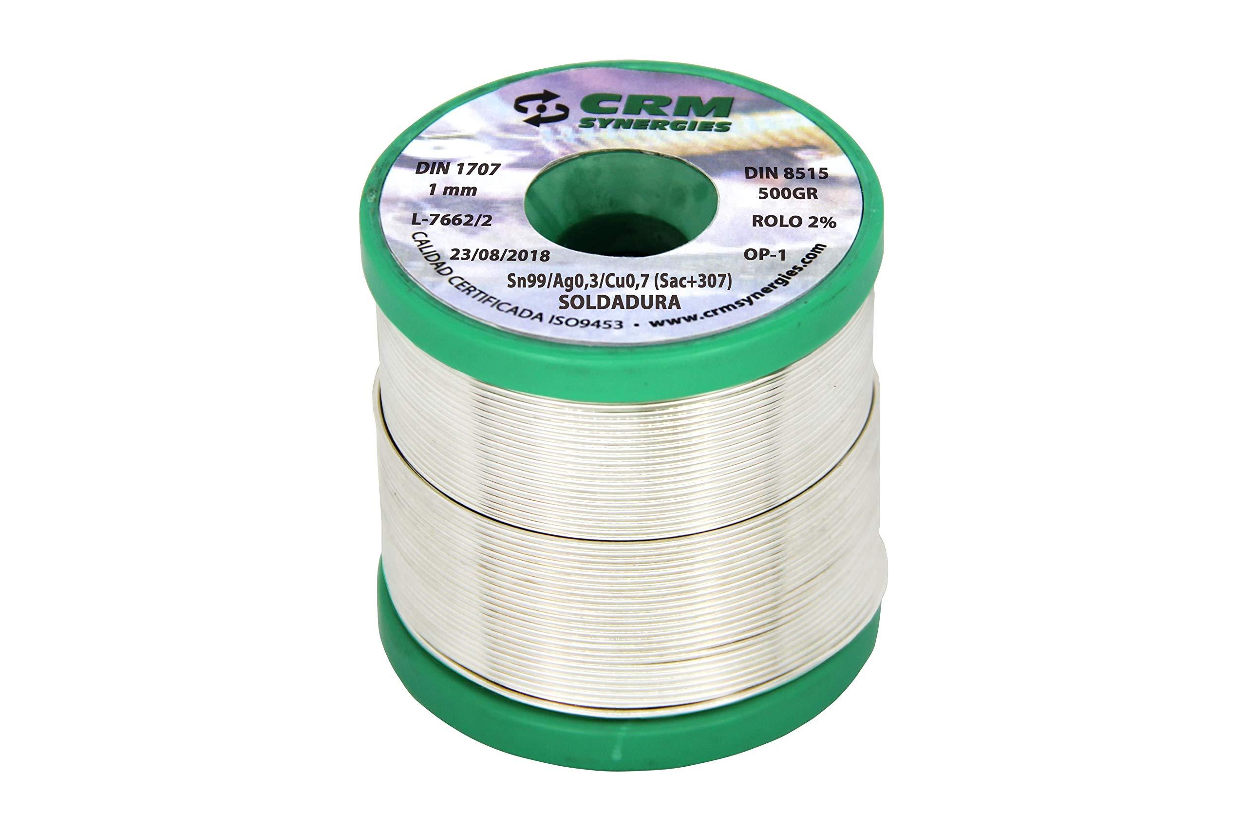 Hilo de soldar estaño plata cobre CRM Sn99/Ag0,3/Cu0,7 1 mm 500 gr