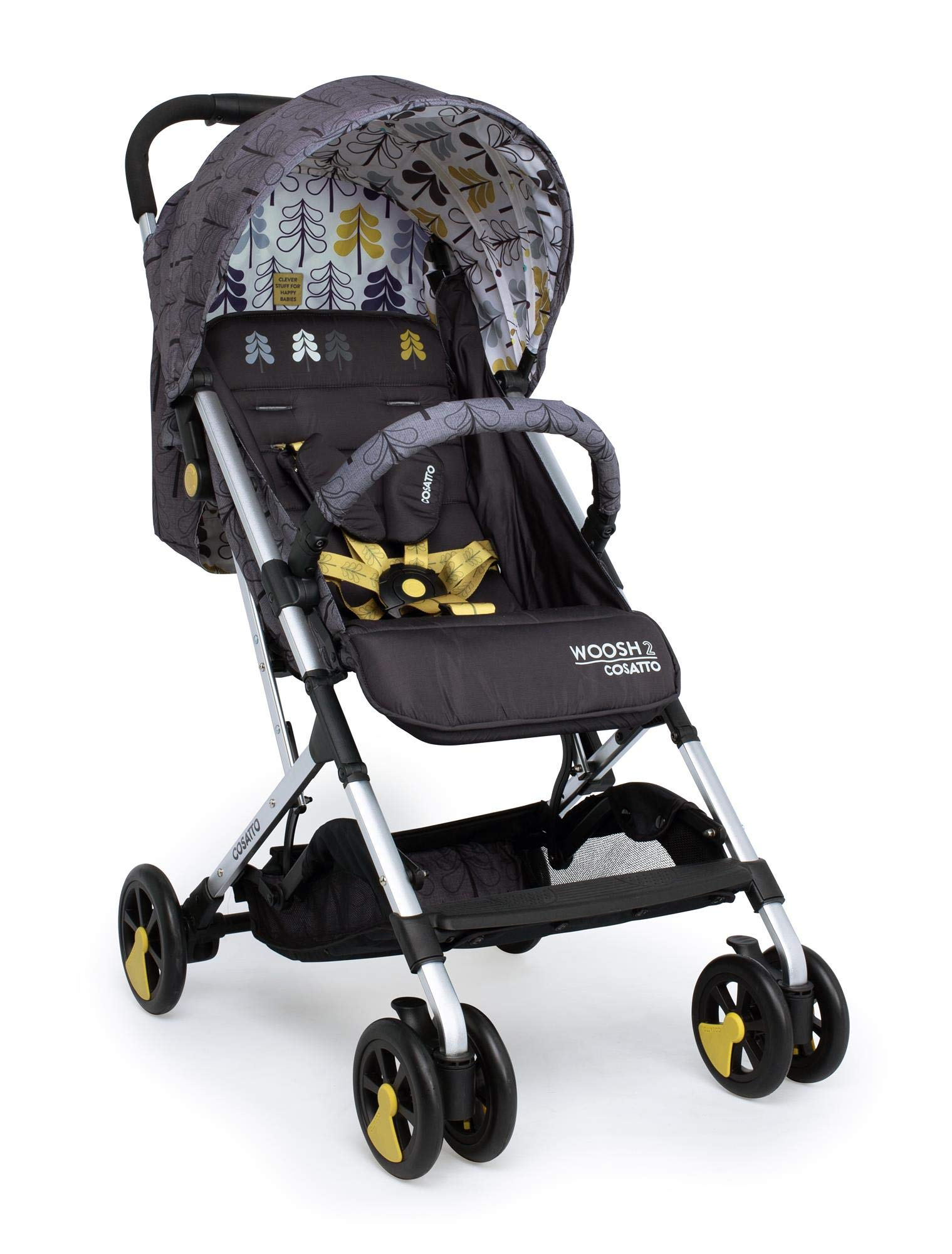 Cosatto Woosh 2 Stroller Fika Forest with raincover and Bumper bar Birth to 25kg Cosatto INCLUDES: The pushchair itself, Raincover, Bumper bar,4 year guarantee(UK and Ireland only) Suitable from birth to max weight of 25kg. Lets your toddler use it for even longer. Lightweight, sturdy aluminium frame. Newborn recline. Lightweight waterproof Ripstop fabric on seat. Lockable swivel front wheels for quick manoeuvres Roomy seat for extra comfort. Removable bumper bar for extra support. Magic bell. Front & rear suspension for a smooth ride. 3