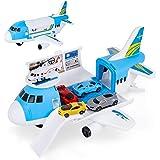 Shayson Transport Cargo Avion Car Toy Play Set pour garçons et Filles de 3 Ans et Plus - Comprend 4 Voitures, 1 hélicoptère,