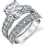 Sterling Silver Cubic Zirconia 3 Carat CTW Round Cut CZ Wedding Engagement Ring Set