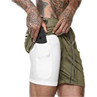 Aisprts Mens 4 Pockets 2-in-1 Running Shorts with Phone Pockets and Elasticated Waist for Work Cycling Basketball Sports…