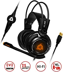 KLIM Puma - Micro Gamer Headset - 7.1 Surround-Sound - Hochqualitativer Klang - Integrierte Vibrationen - Perfekt für PC und PS4 Gaming Black