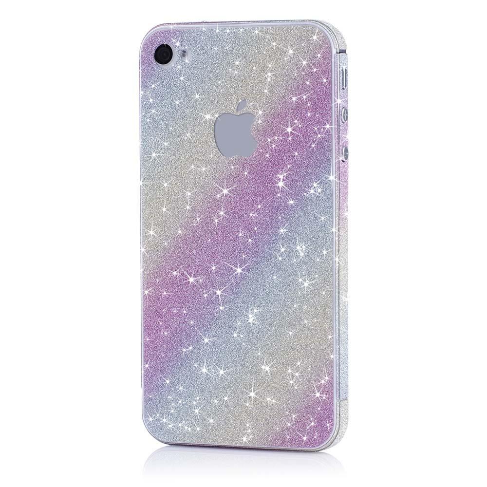 Pellicola MC24® glamour skin effetto glitter per Apple iPhone 4 4s in rainbow- pellicola adesiva dia