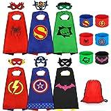 Jojoin 6 Pcs Capas de Superhéroe para Niños, Disfraces de Superhéroe para Niños, Kit de Cosplay para Niños con 6 Máscaras y 6