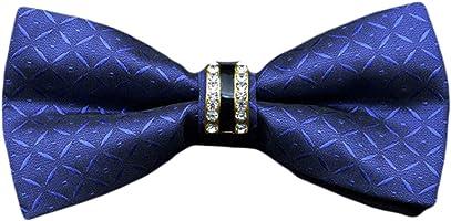 MENDENG Men's Blue Plaid Checks Pre-tied Bow Tie Silk Adjustable Party Ties