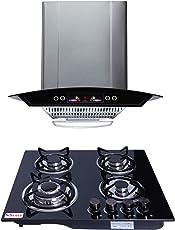 Seavy Kitchen Chimney Combo With Hob, 60cm 1100M3/hr Suction Chimney + 4 Burner Italian Hob (Altis 60)