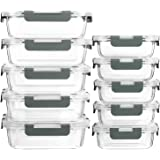 MCIRCO Recipient en Verre,Boîtes Alimentaires en Verre Lot de 10 1040ML+370 ML, Anti-Odeur, Sans BPA, pour four, micro-ondes,