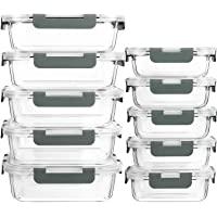 MCIRCO Recipient en Verre,Boîtes Alimentaires en Verre Lot de 10 1040ML+370 ML, Anti-Odeur, Sans BPA, pour four, micro…
