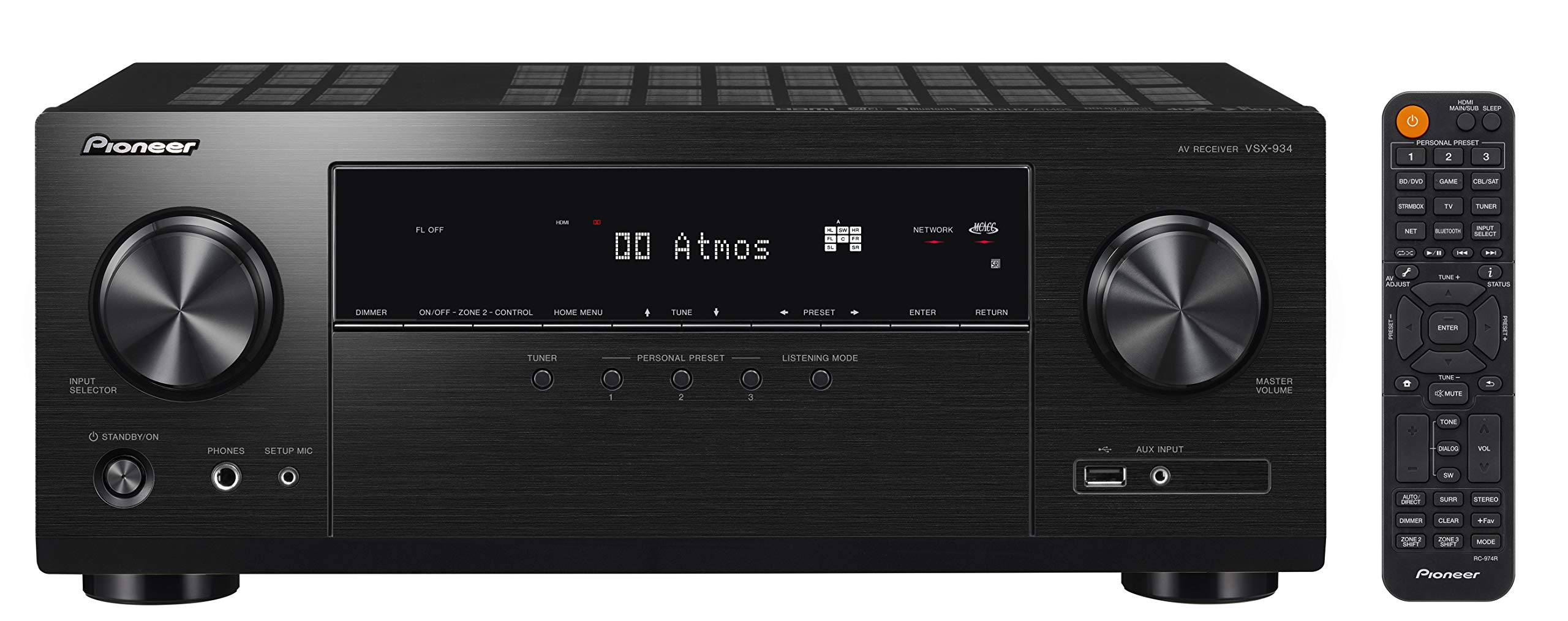 71VLGyv1NbL - Pioneer VSX-934 Receiver 7.2-channel (7x160 Watt, 6 HDMI Inputs (4K), Dolby Atmos, DTS: X, Dolby Atmos Height Virtualizer, Works with Sonos, Zone 2, AirPlay 2, Bluetooth, USB), Black