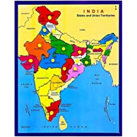India with State Capitals - Educational Toy and Learning Aid for Boys and Girls-Map Puzzle-Wooden Puzzle.