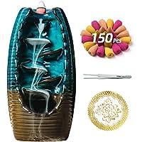 Bruciatore di incenso in ceramica con 150 coni, porta incenso con riflusso a cascata, ornamento per aromaterapia…