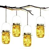 Solar Garden Lights - 4 Pack Solar Mason Jar Lights Garden Hanging Lantern 30 LED Waterproof Solar String Decorative…