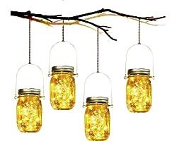 Lumière de Jardin Solaire - 4 Pièces Lanterne de Verre Solaire Imperméable Mason Jar Lanterne Jardin Exterieur pour Décoratio